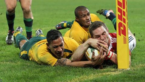 George North's try is ruled out