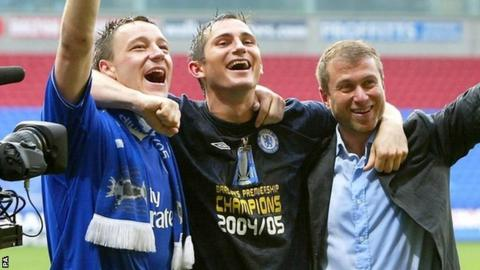 John Terry, Frank Lampard and Roman Abramovich