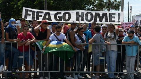 Protestors in Brazil