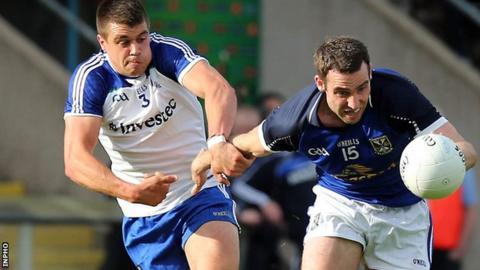 Monaghan's Drew Wylie tackles Eugene Keating at Clones