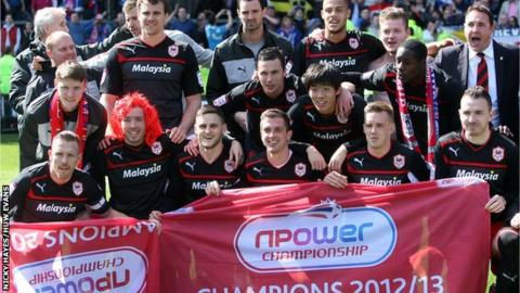 Cardiff City celebrate winning the Championship title after their 1-1 draw at Burnley