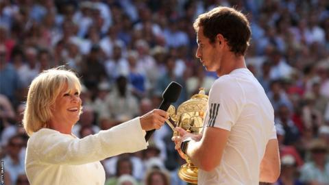 Sue Barker interviews Wimbledon champion Andy Murray