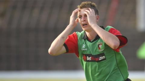 Glentoran's Jay Magee shows his disappointment after the hosts miss a chance against KR Reykjavik