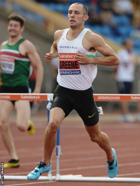 Dai Greene wins his heat at the British Championships and World Championships trials in Birmingham