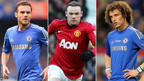 Juan Mata, Wayne Rooney and David Luiz