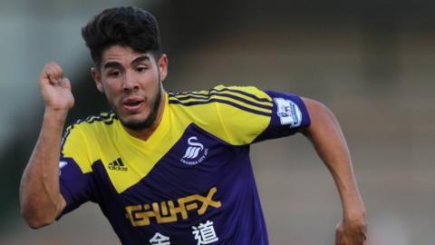 Swansea summer signing Alesandro Pozuelo is a picture of concentration during their 5-0 pre-season win at Yeovil