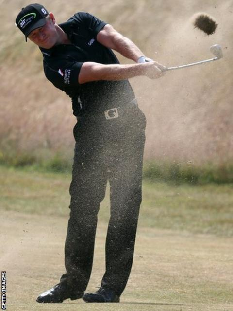 Jamie Donaldson plays a shot during his final round at the Open Championship in Muirfield