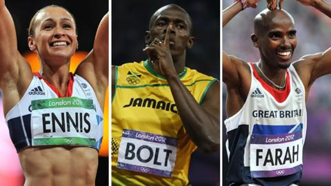 Jessic Ennis, Usain Bolt and Mo Farah