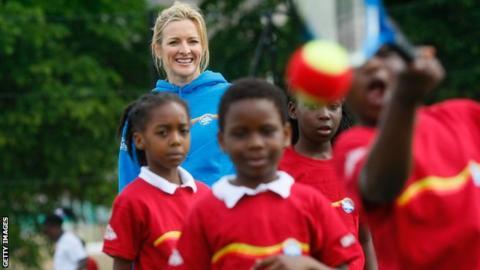 Gabby Logan launching a mini tennis scheme