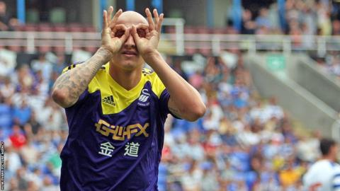 Summer signing Jonjo Shelvey celebrates after scoring for Swansea City in their 3-0 pre-season friendly victory at Reading.