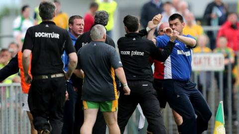 Tempers fray on the sidelines between the Donegal and Meath management teams