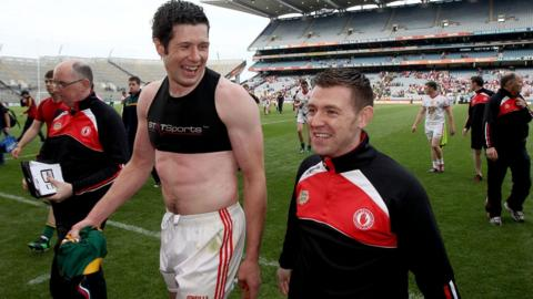 Sean Cavanagh has every reason to be happy after his superb performance helped Tyrone to a 0-17 to 2-9 win over Meath