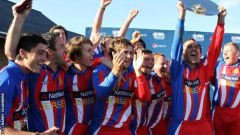 Jersey celebrate with the trophy