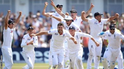 James Anderson celebrates