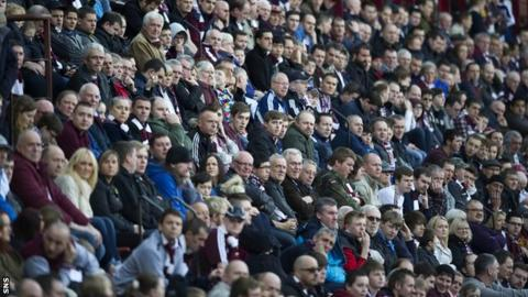 The crowd at Tynecastle watches Hearts play Motherwell last season
