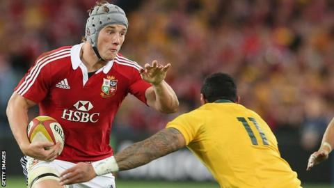 Jonathan Davies takes on the Australian defence for the Lions