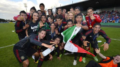 Mexico celebrate their Elite final win over Northern Ireland at Ballymena Showgrounds