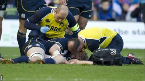 Scotland's Richie Gray receives treatment
