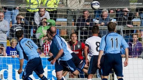 Gavin Swankie scores for Forfar against Rangers