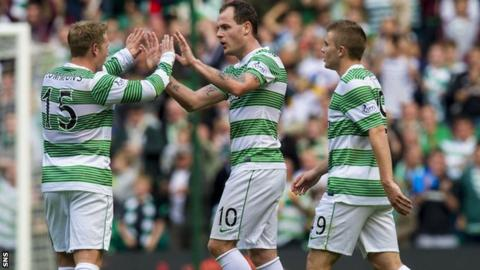 Anthony Stokes is congratulated by Kris Commons
