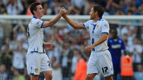 Leeds United's Michael Brown (right) celebrates scoring with Zac Thompson