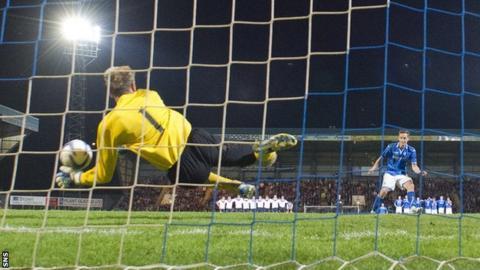 Uladzimir Bushma saves Steven MacLeand's penalty for St Johnstone