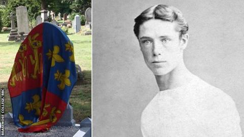 Cuthbert Ottaway and his new memorial, covered with an Eton flag