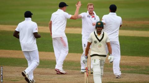 Ben Stokes celebrates removing Usman Khawaja