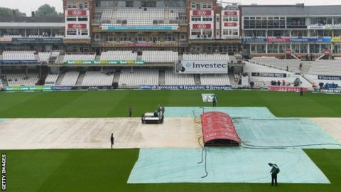 Covers on the pitch at The Oval