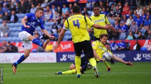 Jamie Vardy scores Leicester's equaliser against Birmingham