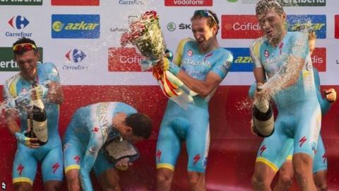 Astana team celebrate