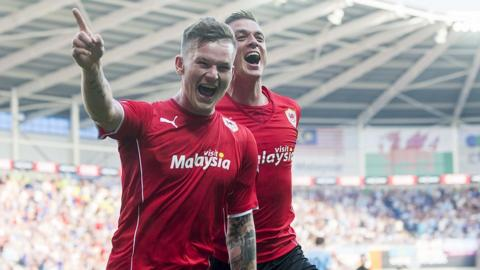 Aron Gunnarsson celebrates his goal as Cardiff City host Manchester City in the Premier League