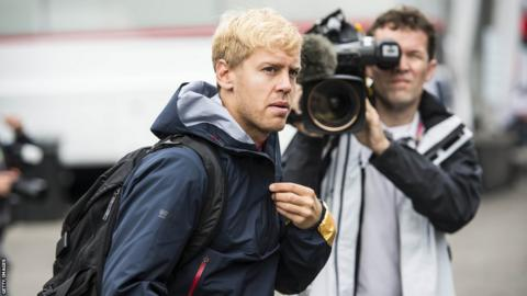Sebastian Vettel arrives at the Belgian Grand Prix in Spa Francorchamps