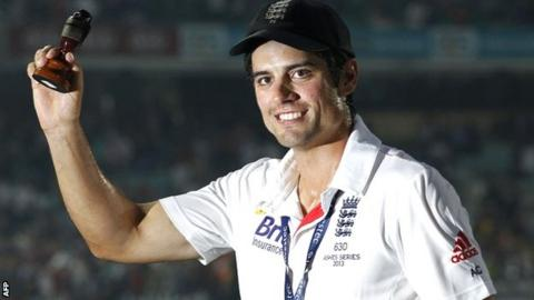 England captain Alastair Cook with the Ashes urn