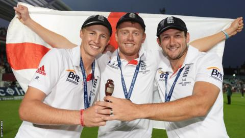 Joe Root, Jonny Bairstow and Tim Bresnan show off the prize - Root was England's third highest-scoring batsman of the series.