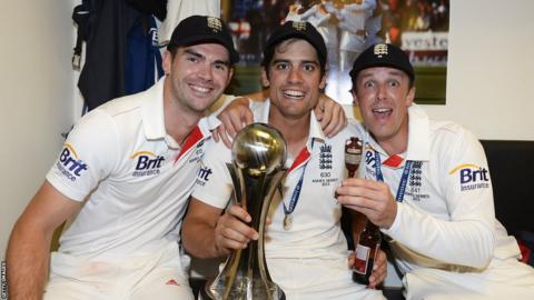 Captain Alastair Cook is flanked by James Anderson and Graeme Swann, two players so influential with the ball with a combined 48 wickets taken.