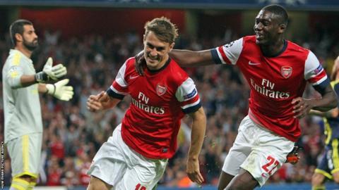 Aaron Ramsey celebrates scoring for Arsenal