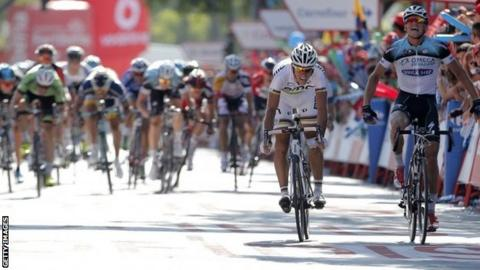 Zdenek Stybar (right) wins stage seven from Philippe Gilbert