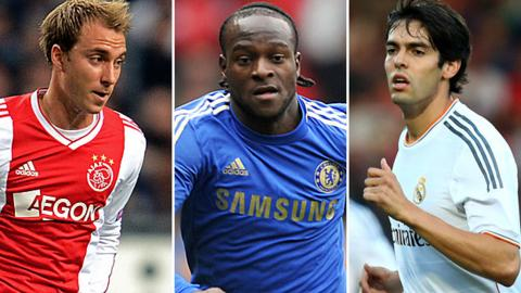 Christian Eriksen (left), Victor Moses (centre) and Kaka
