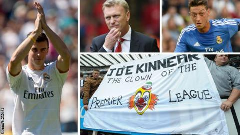 Gareth Bale (left), David Moyes (top centre), Mesut Ozil and Newcastle fans with Joe Kinnear banner