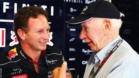 John Surtees with Red Bull Team Principal Christian Horner.
