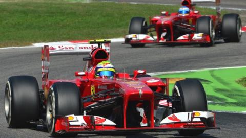 Ferrari's Felipe Massa and Fernando Alonso