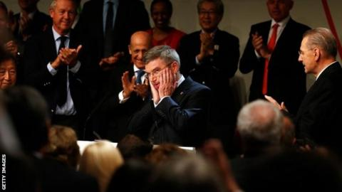 Thomas Bach in congratulated by IOC members