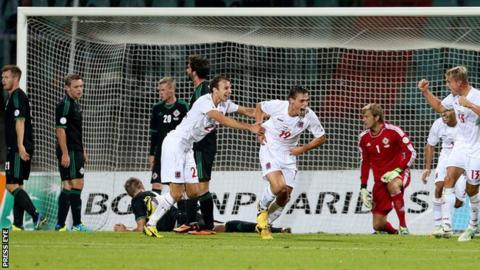 Mathias Janisch celebrates after scoring the winner