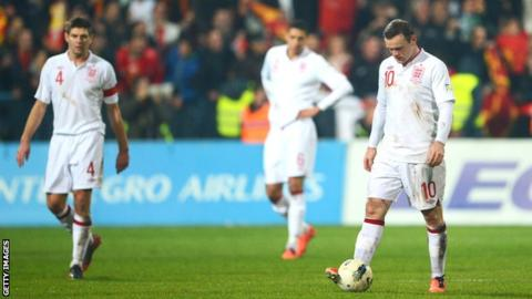 England players after their 1-1 draw in Montenegro in March