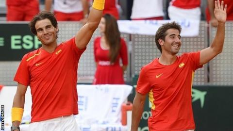 Rafael Nadal (left) and Marc Lopez