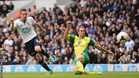Gylfi Sigurdsson gives Tottenham the lead against Norwich
