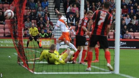 Neil Bishop puts Blackpool 2-1 up at Bournemouth