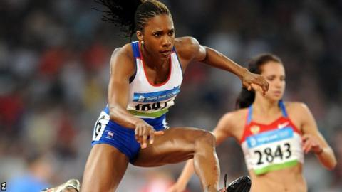 Great Britain's Tasha Danvers during the Women's 400m Hurdles round 1 at the 2008 Olympic Games in Beijing