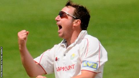 Robert Croft celebrates taking a wicket for Glamorgan